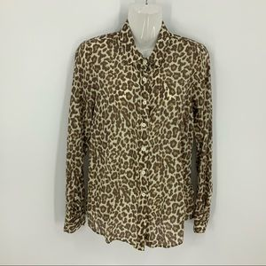 J crew silk cotton blend leopard print top